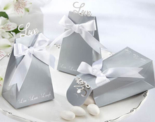 50 pcs silver love candy boxes charm baby Shower Favor wedding decoration Gift bag party birthday box