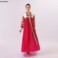 2019 summer red asian costume korean traditional women hanbok lady national dress full sleeve female korean ancient costume