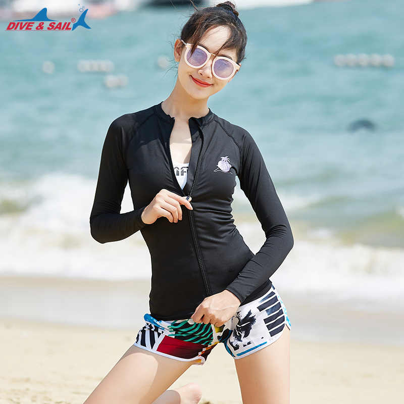 Ritsleting Lengan Panjang Rashguards set Kemeja Bra Celana Womens Hitam Rash Guard Swimwear UPF50 + Matahari Berenang Mandi Setelan Hitam