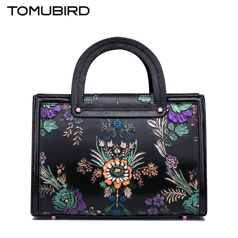 Tomubird  2017 new original Chinese wind leather handbag Retro painted shoulder Messenger bag Boston package women's handbags original national wind leather ladies handbag 2017 spring of the new chinese wind hand bag woman women s handbags
