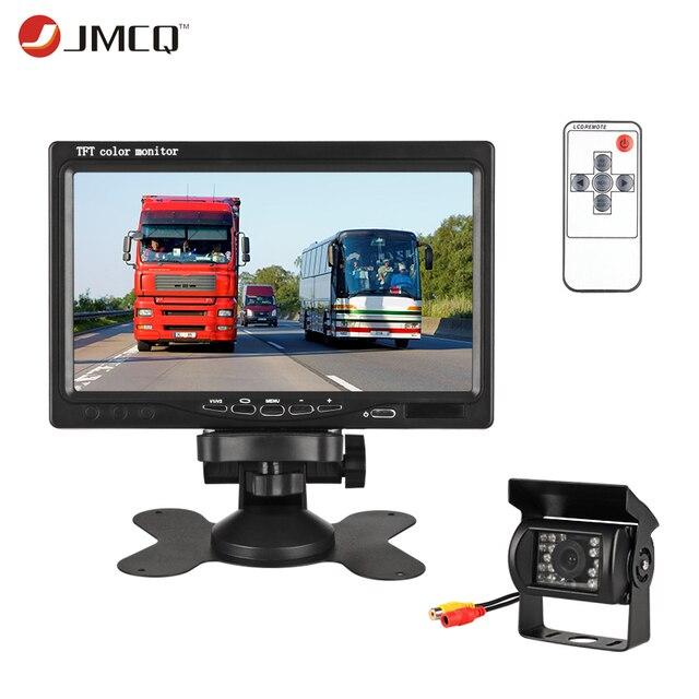 "JMCQ 7 ""TFT LCD Monitor de coche HD pantalla Cámara inversa sistema de aparcamiento de coche retrovisor monitores Anti-glare gran visión para camión"