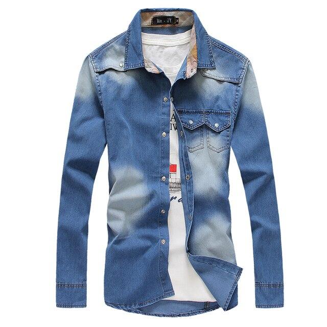 2018 Новый Мужская Мода Ретро джинсовая рубашка мульти-карман Дизайн синий с длинным рукавом платье рубашка Повседневное Slim Fit рубашки ковбойские Стиль
