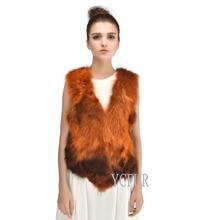 New Style Women Fur Jackets Winter Natural Raccoon Fur Vests Warm Winter Real Fur Waistcoat Female