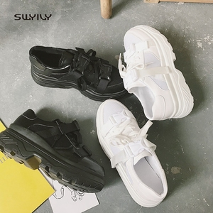 Image 5 - SWYIVY Mesh Casual Shoes Women Sneakers 2019 New Female Shoes White Breathable Ladies Shoe Low Cut Platform Sneakers Women