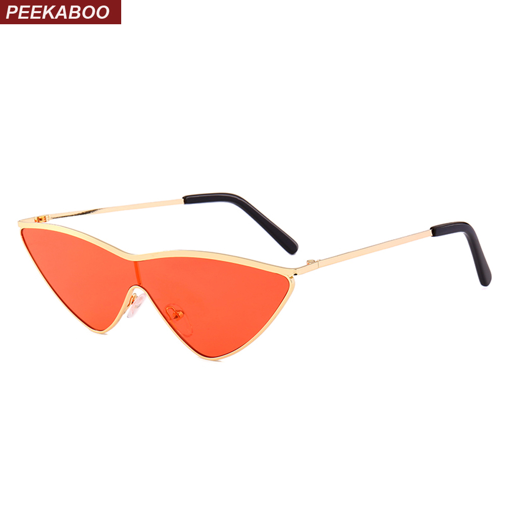 Peekaboo red triangle sunglasses women cat eye 2018 metal green pink one piece lens small sun glasses female lady uv400