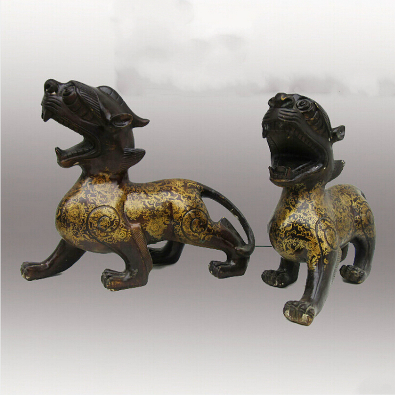1 Pair of Chinese Decorated Brass Carved Mythical wild animal Sculpture/Metal Pi Xiu Statue|sculpture statue|statue sculpture|sculpture carved - title=