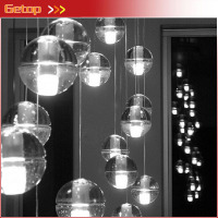 GETOP 1pcs K9 Crystal Chandelier Magic Crystal Ball lustres de cristal Pendents Meteor Shower Crysal Lamp DIY Custom made