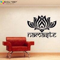 Yoga Lotus Muurtattoo Vinyl Sticker Art Home Decor Ontwerp-indiase Yoga Namaste Woorden Lotus Bloem Boeddha Ganesh Mandala muurschildering