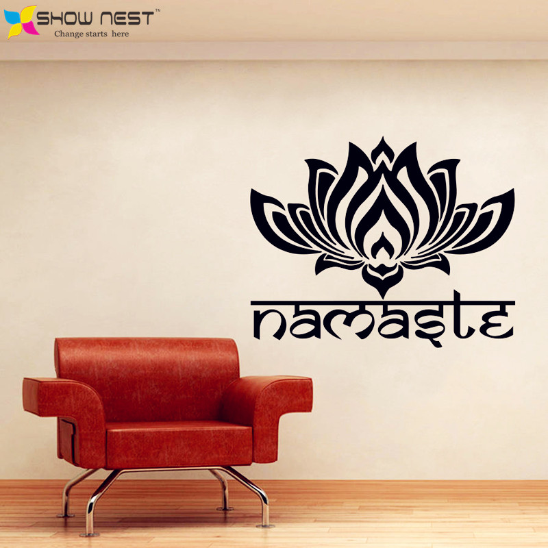 Yoga Lotus Wall Decal Vinyl Sticker Art Home Decor Design Indian Yoga Namaste Words Lotus Flower