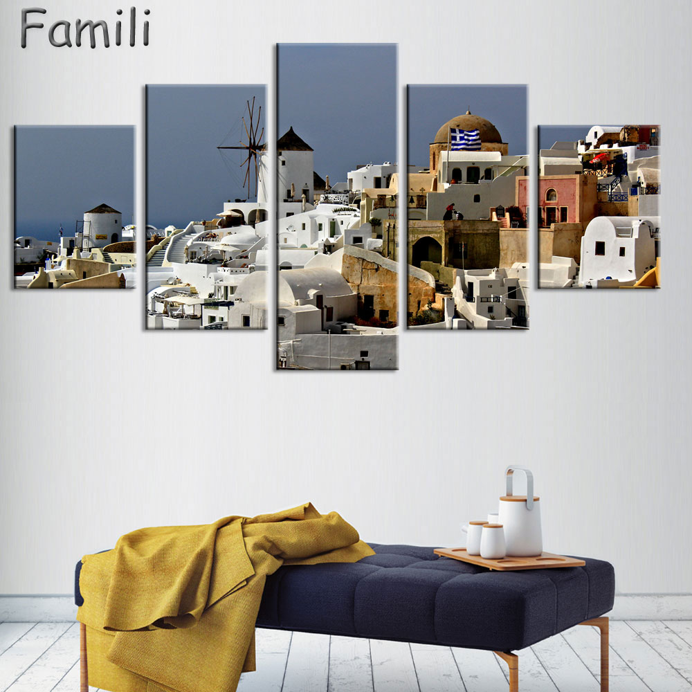5 Panel Modern Painting Home Decorative Art Picture Greece Santorini ...