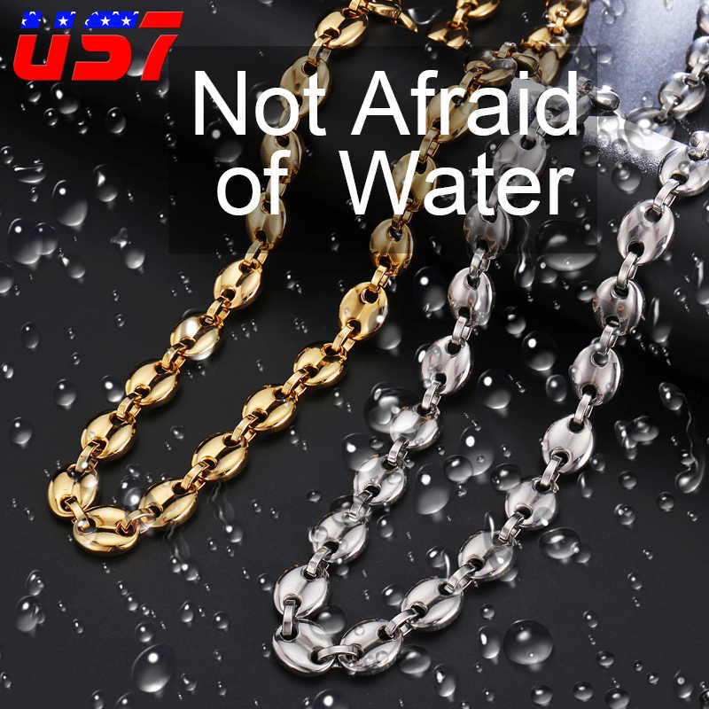 US7 Coffee Beans Link Chain 11MM Necklace Stainless Steel Men Women Rope Link chain Fashion Necklaces Hip hop Jewelry