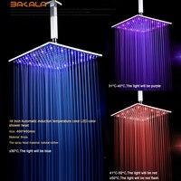 BECOLA Luxury rainfall shower head Bathroom shower head water power temperature sensor not with arm shower head LED 161600
