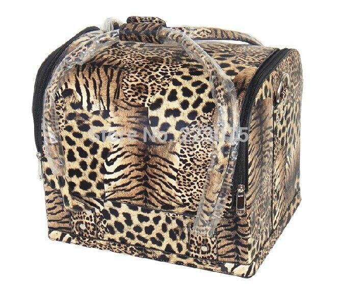 High quality big makeup box Beauty large Make Up Therapist Artist Cosmetics Case Box Leopard