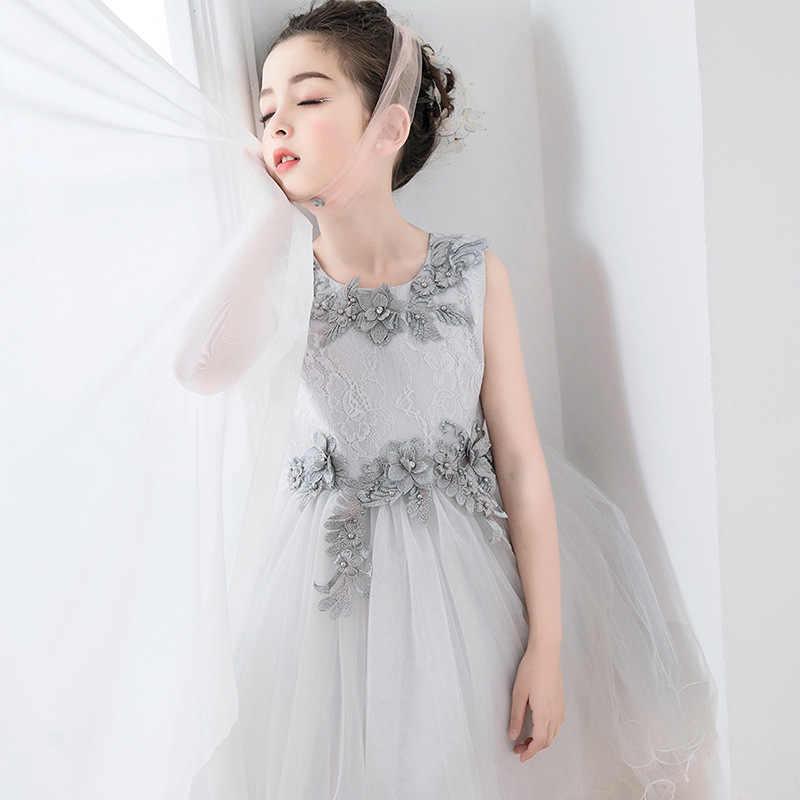 75f8ec64bf8a3f0 Со дня рождения Детские платья для девочек элегантный серый для девочек в  цветочек vestido infantil Festa