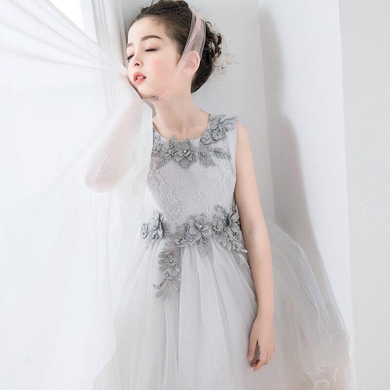 Brithday Kids Dresses for Girls Elegant Gray Flower Girl Vestido Infantil Festa Kids Clothes 4 6 8 10 12 14 Years Old RKF184026