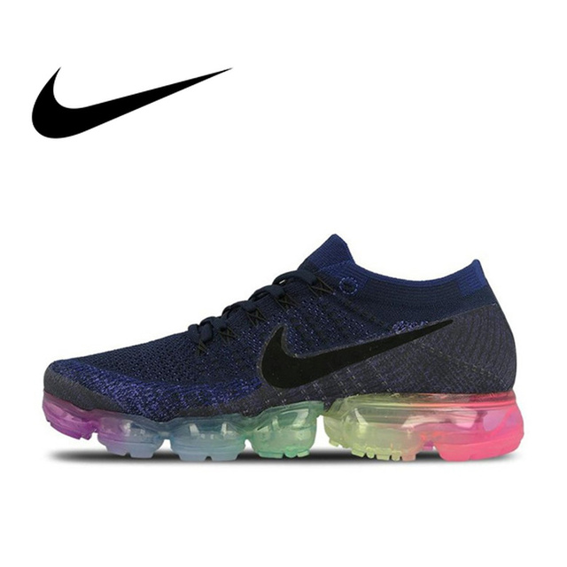wholesale dealer fd5fb 1c451 Original Nike Air VaporMax Be True Flyknit Breathable Men s Running Shoes  Sports New Arrival Official Sneakers Outdoor Rainbow