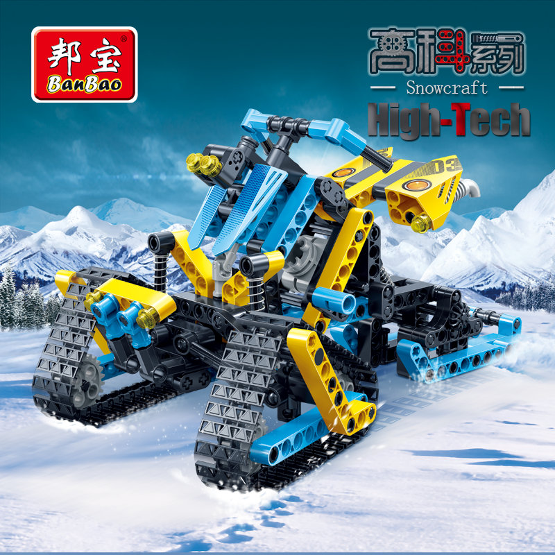 BanBao High Tech Educational Building Stacking Blocks Toy For Children Gifts Car Snowmobile Stickers Compatible Legoe