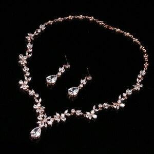 Image 2 - EMMAYA ensemble de bijoux avec pierres CZ AAA, magnifique ensemble de bijoux pour femmes, fleurs en cristal blanc, fête, mariage, fête