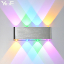 YooE إضاءة داخلية موضة وحدة إضاءة LED جداريّة مصابيح 8 واط AC100V/220 فولت الجدار الشمعدان غرفة نوم LED الباردة/الدافئة الأبيض الأصفر/الملونة