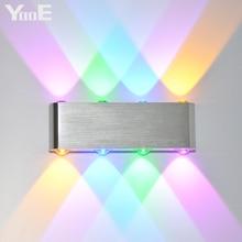 Освещение для помещений YooE, модные светодиодные настенные лампы, 8 Вт, переменный ток 220 В/В, настенное бра для спальни, светодиодное холодное/теплое белое/желтое/цветное