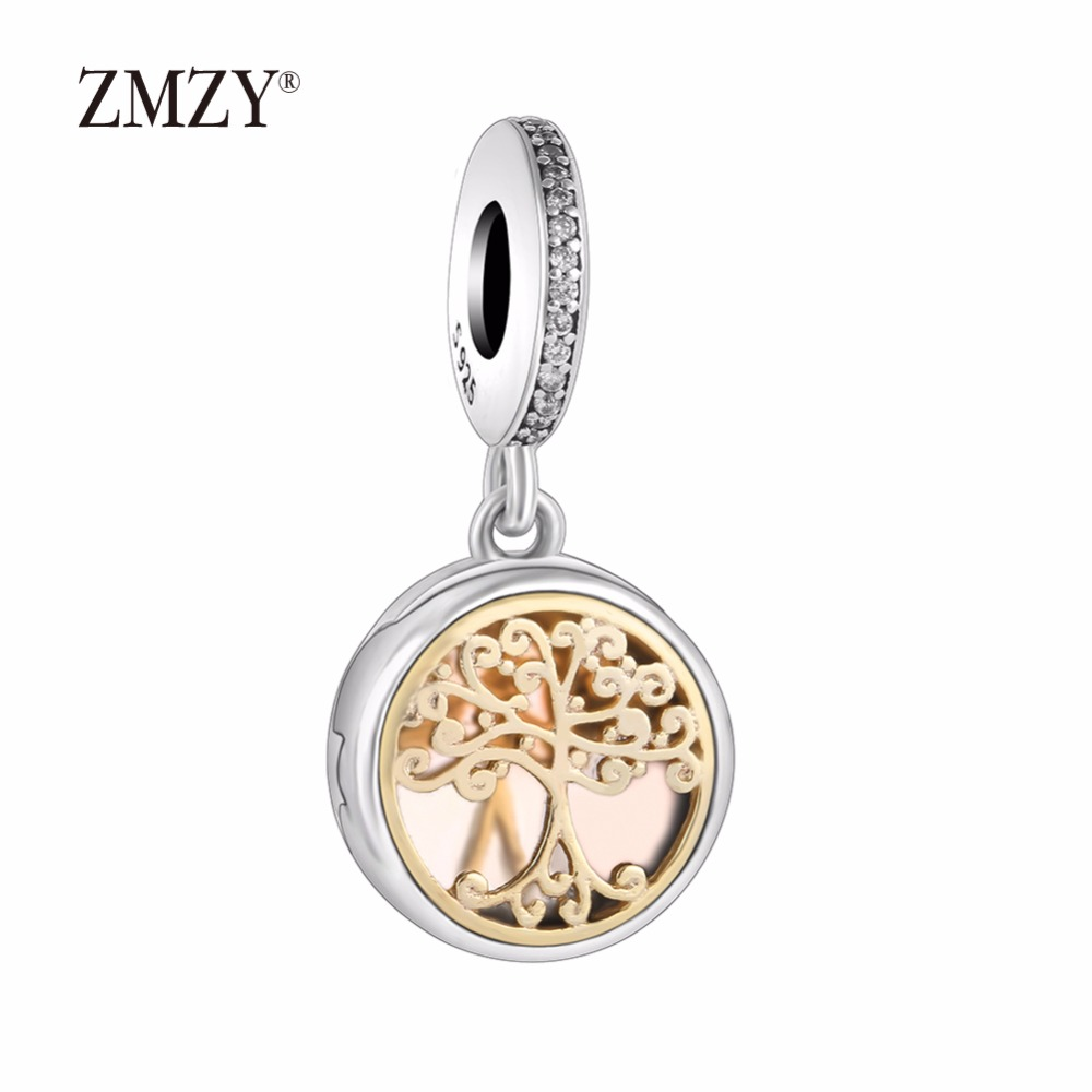 ZMZY Authentic 925 Sterling Silver Charms Family Tree Locket Clear Cubic Zirconia Beads Fits Pandora Bracelets Making locket