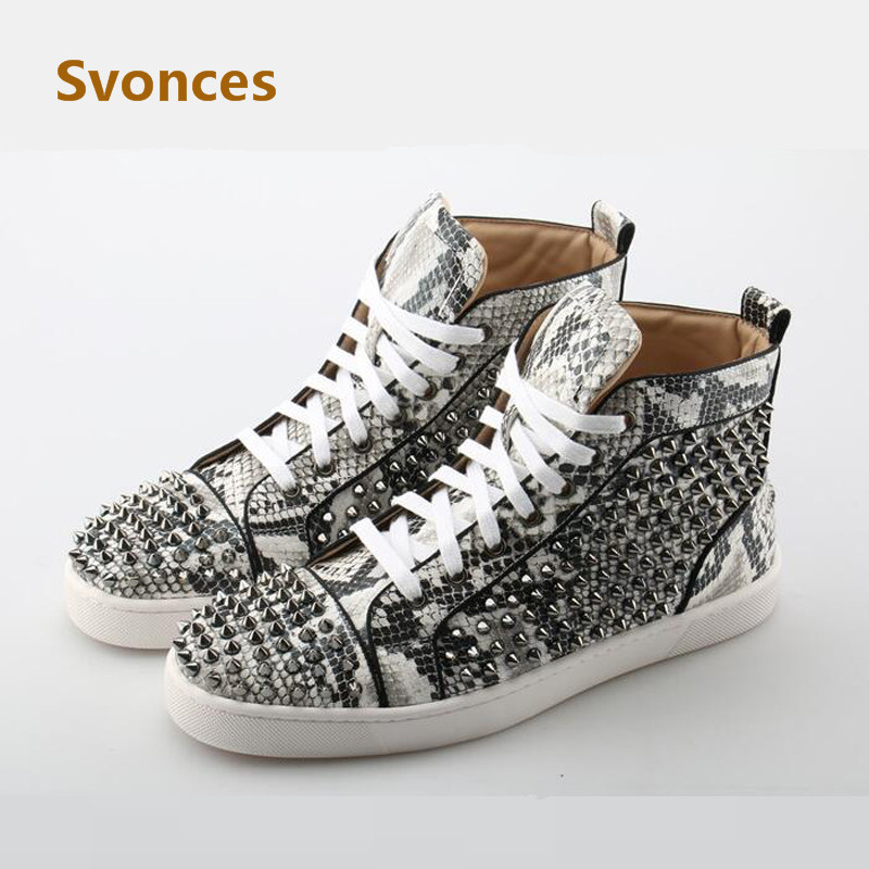 Detail Feedback Questions about New Unisex Silver Rivets Casual Shoes  Serpentine Leather Mens Flats Studded Fashion Lace Luxury Designer Shoes Men  ... e9cf17b8a017