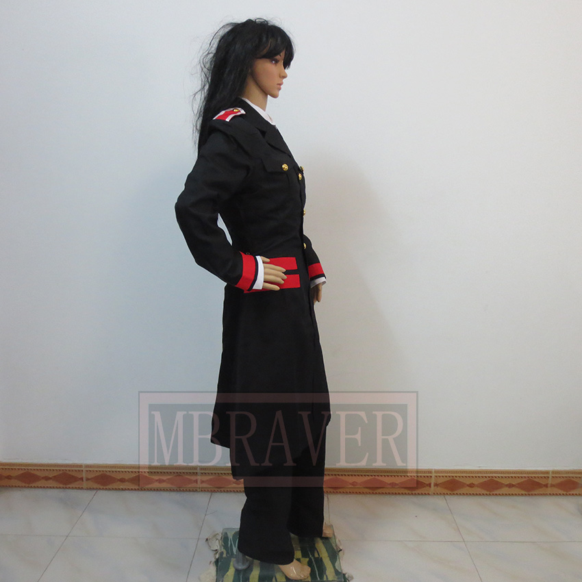 Noragami Bishamon ARAGOTO Cosplay Costume Black Long Coat Suit Full Set