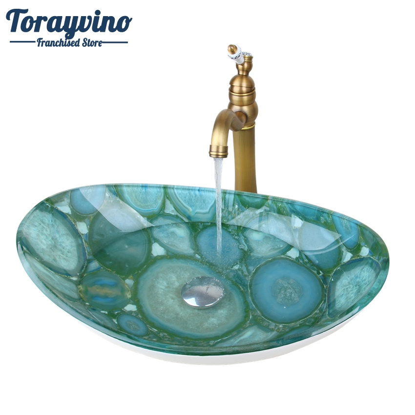 Torayvino Green Stone Oval Glass Washroom Basin Vessel Vanity Sink Bathroom Mixer Basin Washbasin Retro Brass Faucet Set Drain free shipping new antique brass chinese dragon style bathroom basin waste pop up waste vanity vessel sink drain with overflow