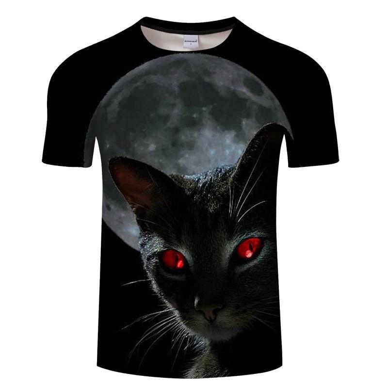 Черная футболка с 3D принтом кота для мужчин и женщин, летняя повседневная футболка с коротким рукавом и круглым вырезом, Топы И Футболки, Забавные футболки, Азиатские размеры S-6XL - Цвет: TXKH3136