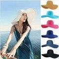Hot! 2015 moda verão mulheres de senhoras de dobrável ampla grande Brim Floppy praia chapéu de sol Cap chapéu de palha