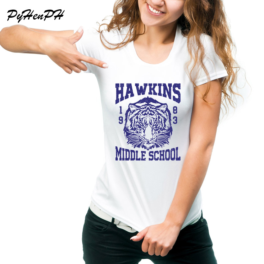 Stranger Things Hawkins Middle School T Shirt Women O-Neck Short Sleeve Tee Shirt Femme Tiger 1983 design T shirts Women Tops