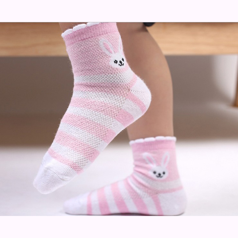 Kids Socks Free Shipping Children Cotton Kids Baby girls 4-12Year 5pair/lot new arrived students character rabbit