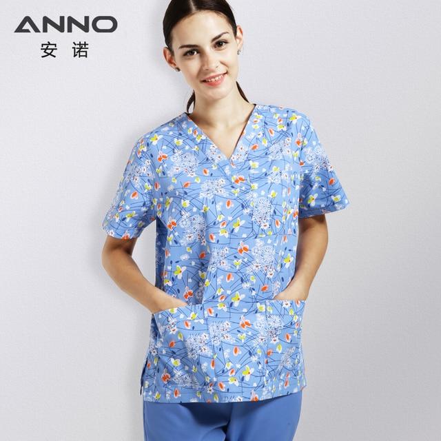 pretty nice e7b92 e492d ANNO Cartoon Hospital Scrub Set Cotton Nursing Scrubs for Women Men Medical  Clothing Cheap Beauty Salon SPA Tops   Bottoms
