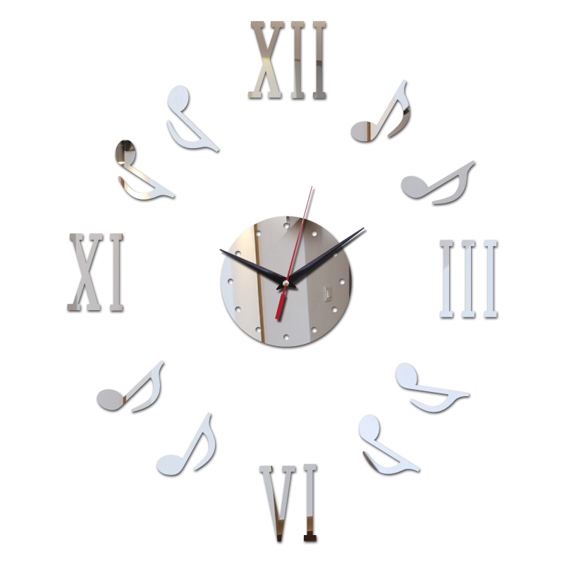 2019 Hot Sale 3D Wall Clock Sticker Set Roman Digits Music Creative DIY Mirror Acrylic Clocks Glass Decal Home Decoration Modern