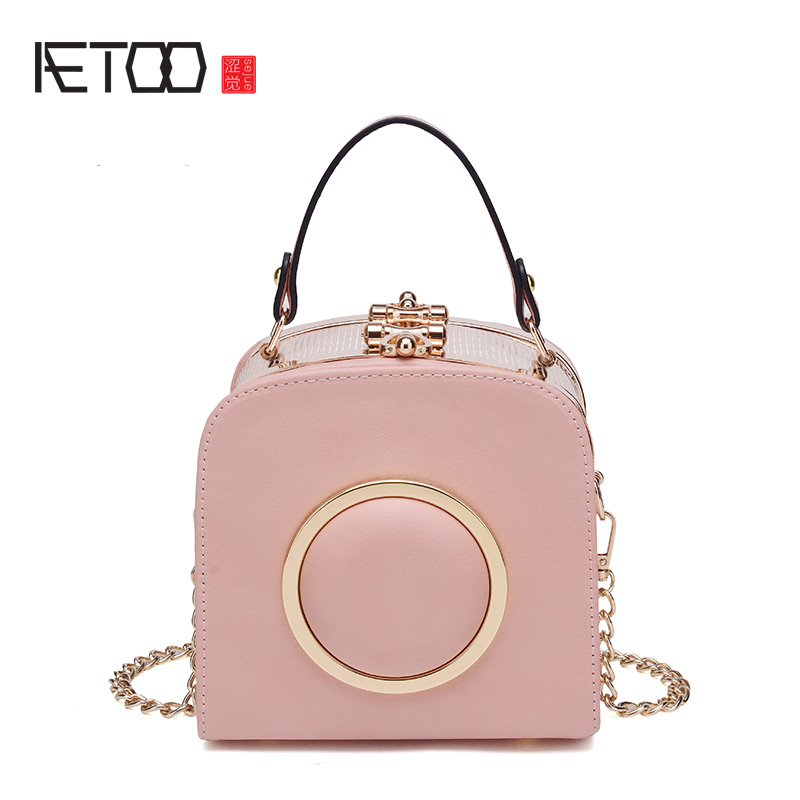 AETOO Lock box small square bag chain package female 2017 new Korean version of the atmosphere portable shoulder Messenger bag m retro small square korean version of the printing bag graffiti shape shoulder mini oblique cross female package