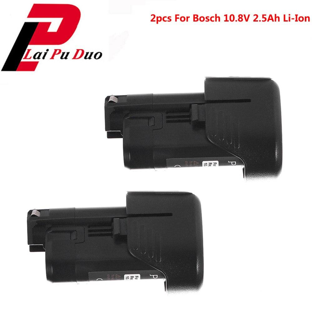 2 pièces 10.8 V 2.5Ah Li-Ion Batterie De Remplacement Pour Bosch: BAT411, 2607336013, GSR10.8V-LI-2, PS10-2, GOP10.8V