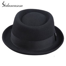 Sedancasesa 100% Australia Wool Men's Fedora Hat Pork Pie Hats for Classic Church Wool Felt Hat 2018 New Autumn Winter