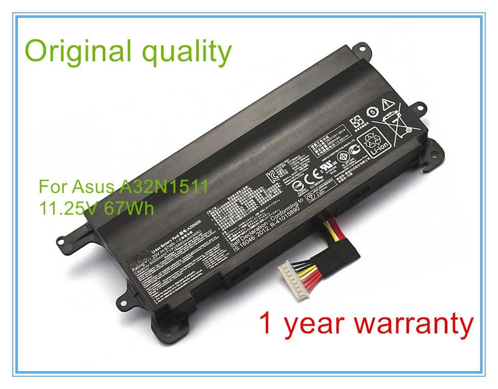 New original laptop batteries for G752VL,G752VT,A32N1511,0B110-00370000,G752v,11.25V,6 cell 67Wh