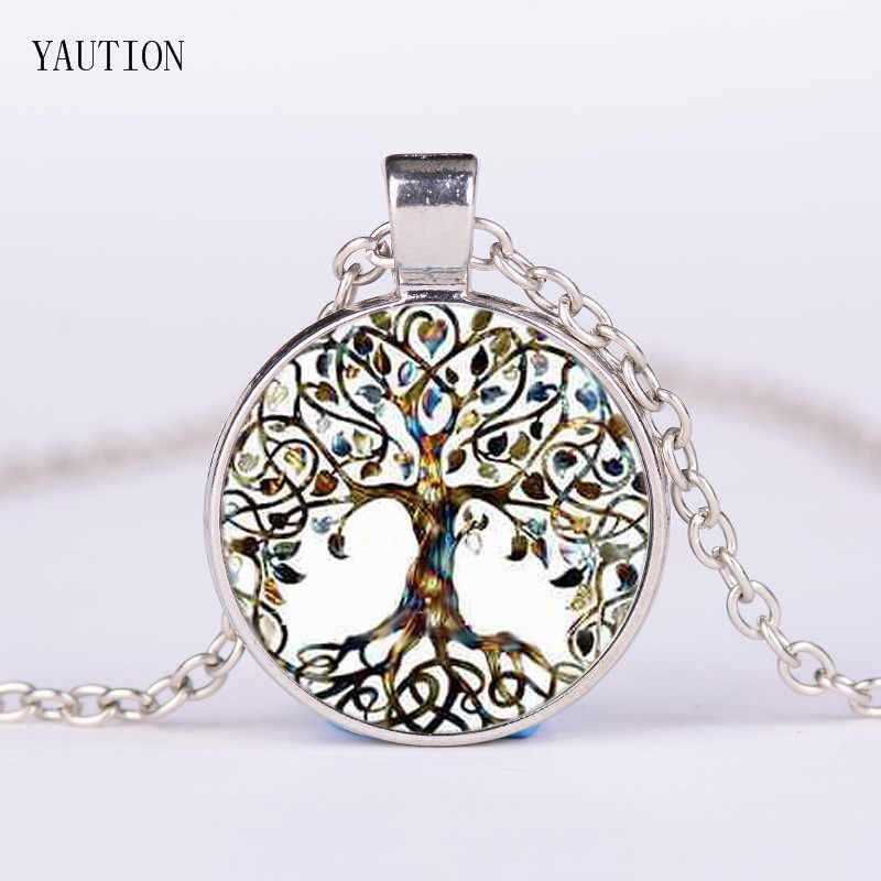 YAUTION Glass Picture Pendant Tree Of Life Necklace Glass Pendant For Women jewelry gifts