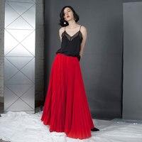 Top Fashion Vermelho Saias Das Mulheres Saias Longas Até O Chão Uma Linha de Chiffon Plissado Saia Maxi Saia Zíper de Alta Moda Personalizado