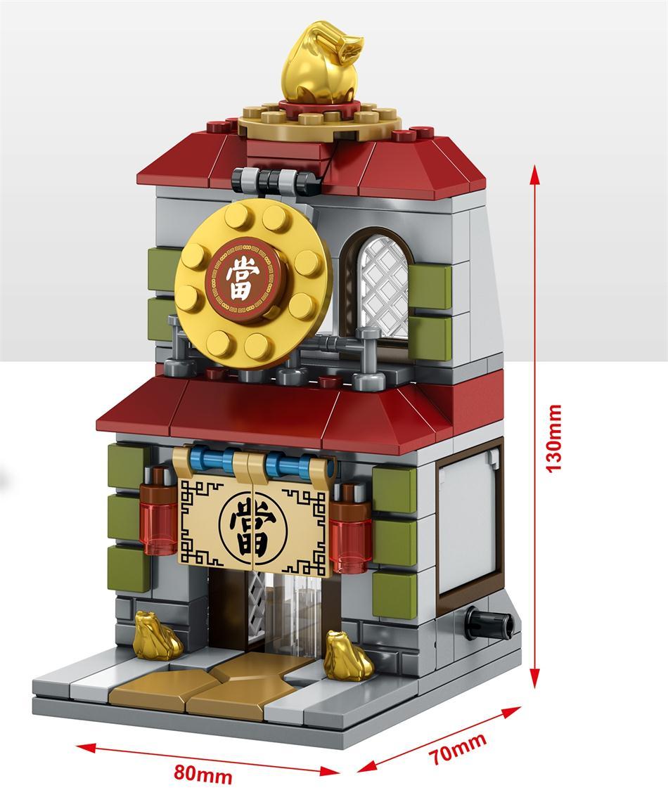 Blocos chinatown sembo bonito micro loja Tipo : Mini Street Shop Blocks Series