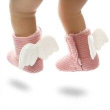 Зимняя вязаная обувь; милые детские ботинки; очень теплые ботинки с крыльями для новорожденных