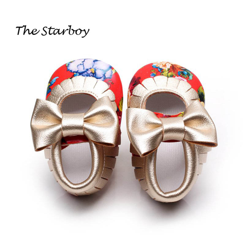 Newborn Infant Baby Toddler Girls Princess Shoes Floral Bowknot PU Leather Moccasins Soft Moccs First Walkers