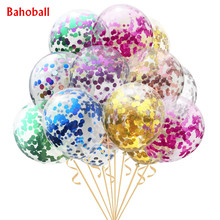 5pcs/lot Clear Balloons Gold Star Foil Confetti Transparent Balloons Happy Birthday Baby Shower Wedding Party Decorations(China)