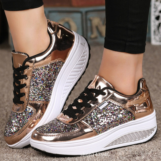 Jookrrix Casual Sequins Shoes Women Fashion Brand Glitter Sneakers Lady Platform  chaussure Silver Autumn Girl footware Bling dca6d7251795