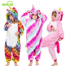 Купить с кэшбэком 28 New Kids Animal Pajamas Set Winter Warm Boys Girls Starry Pegasus Unicorn Cosplay Children Sleepwear Onesie Flannel Pyjamas