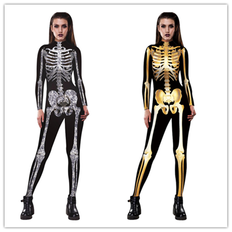 Adult Size Skull Skeleton Jumpsuit Catsuit Sexy Cosplay Costumes Halloween Purim Carnival Women Bodysuit Fancy Dress