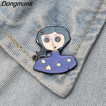 DMLSKY Coraline Cute Enamel Pin Brooches Badges for Clothing Metal Tie Pins Women and Kids Cartoon M2750