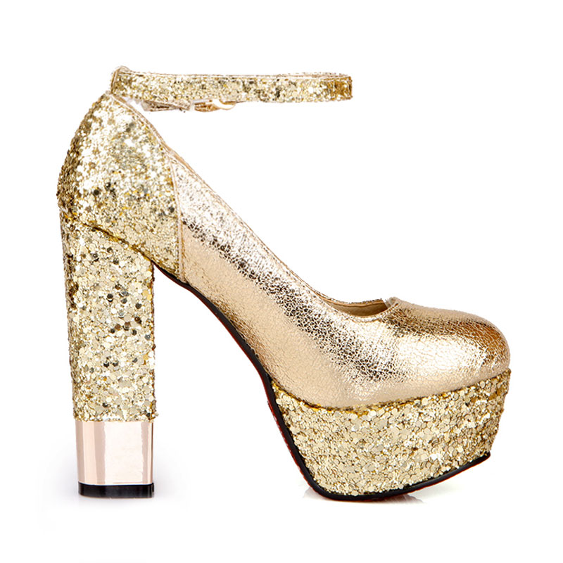 Fanyuan Women Pumps Glitter Heels Elegant Ankle Strap Heels Platform Shoes  Woman Gold Silver Sexy Ladies Prom High Heeled Shoes-in Women s Pumps from  Shoes ... 1cc0665cc95f