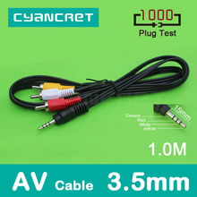 AV Cable 3.5mm Jack to 3 RCA Audio Video Cable Male to Male for Android TV Box Speaker Television Projector VCD DVD MP4 Player